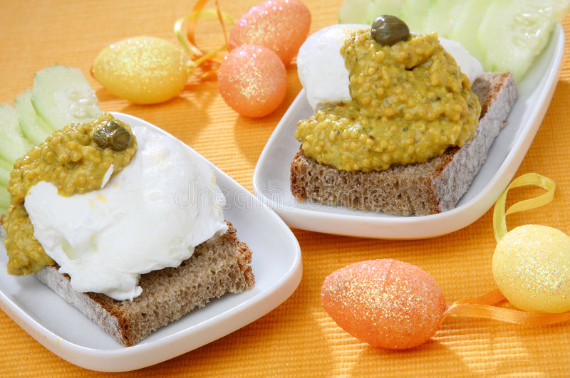 面包蛋传播蔬菜 免版税库存图片