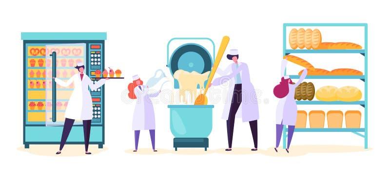 面包蛋糕生产机器 甜酥皮点心烘烤加工业与企业字符工作者的设备汇集 向量例证