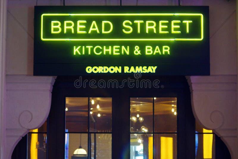 面包街道厨房的图片厨师拥有的餐馆戈登・拉姆齐在迪拜亚特兰提斯 免版税库存照片