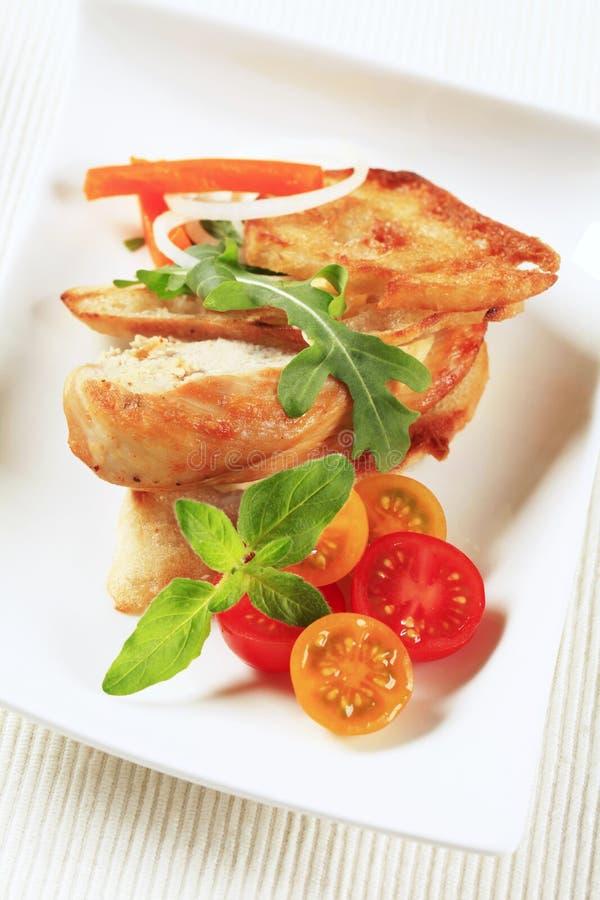面包鸡酥脆肉 免版税库存图片