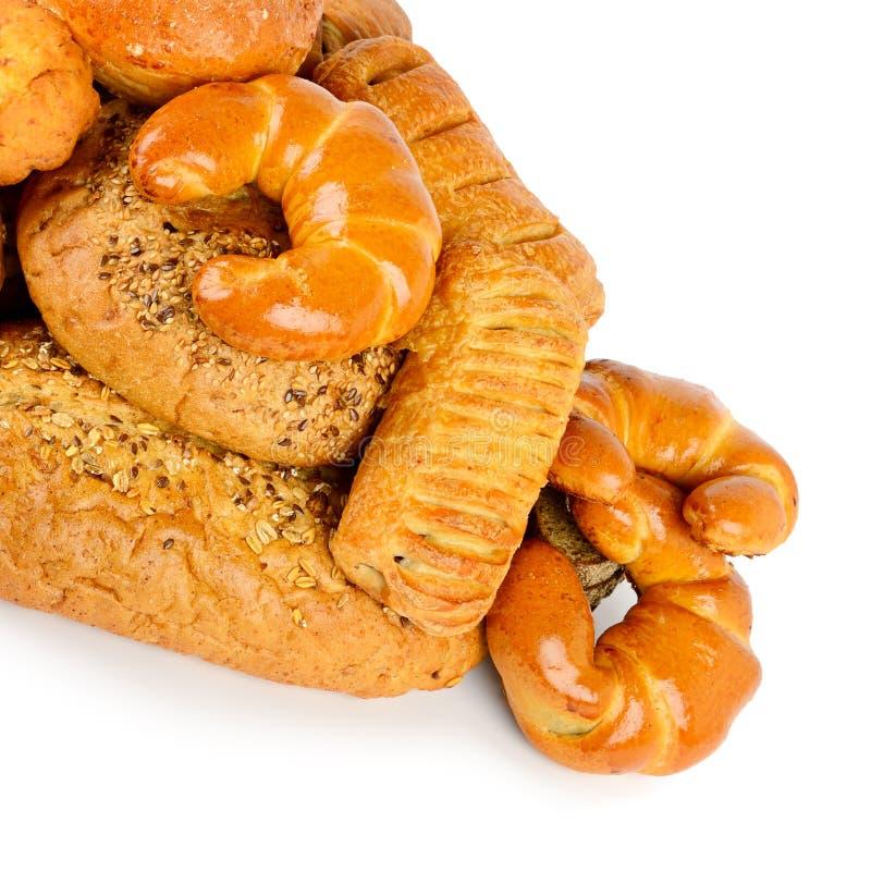 面包,小圆面包,在白色隔绝的新月形面包 免版税库存图片