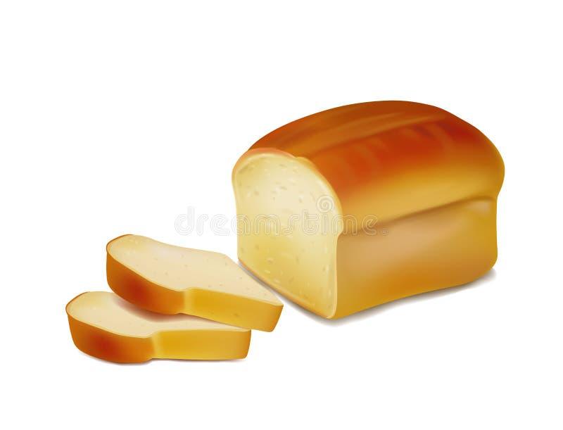 面包,面包店象,在白色背景隔绝的切的新鲜的麦子面包 向量例证