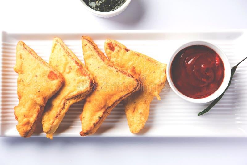 面包Pakora或面包Pakoda或bhaji 库存照片