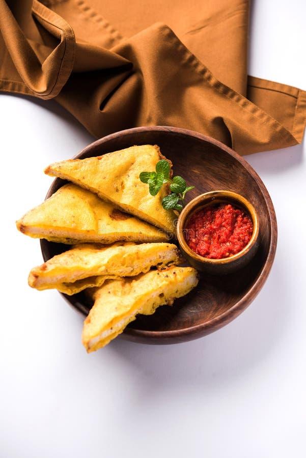 面包Pakora或面包Pakoda或bhaji 免版税库存图片