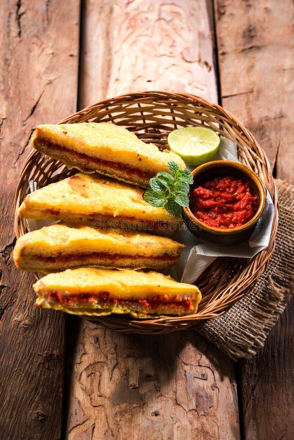 面包Pakora或面包Pakoda或bhaji 图库摄影