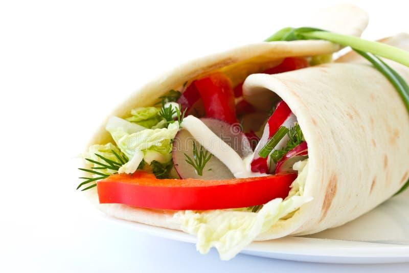 面包pita被充塞的蔬菜 库存照片