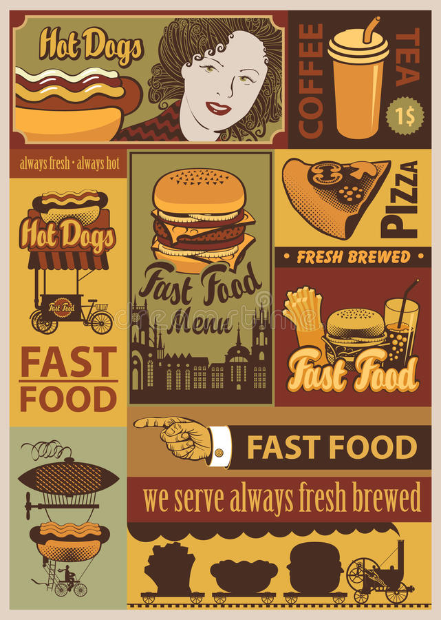 面卷饼快餐kebab饼集合炸玉米饼 向量例证
