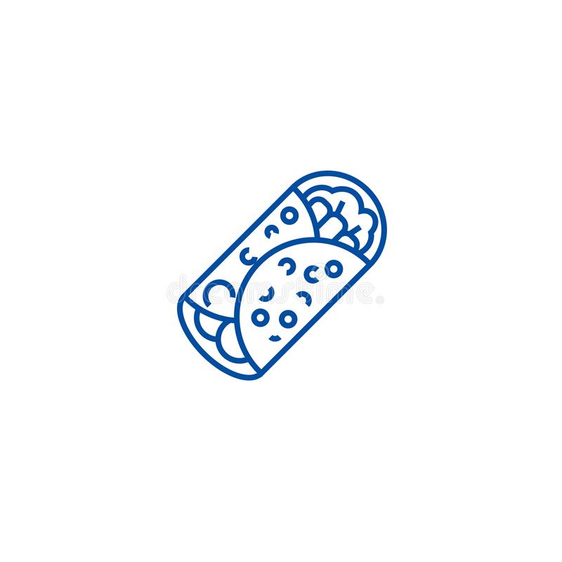 面卷饼线象概念 面卷饼平的传染媒介标志,标志,概述例证 向量例证