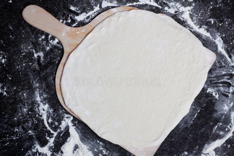 面团平面的薄饼 库存照片