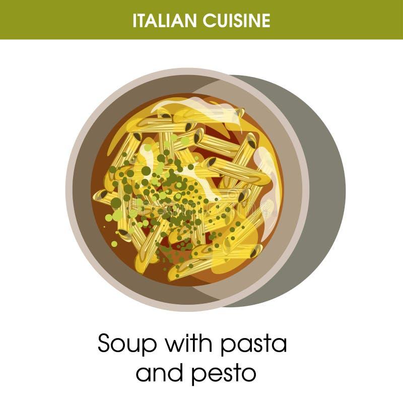 面团意大利烹调汤和pesto导航餐馆菜单或烹调的食谱模板象 向量例证