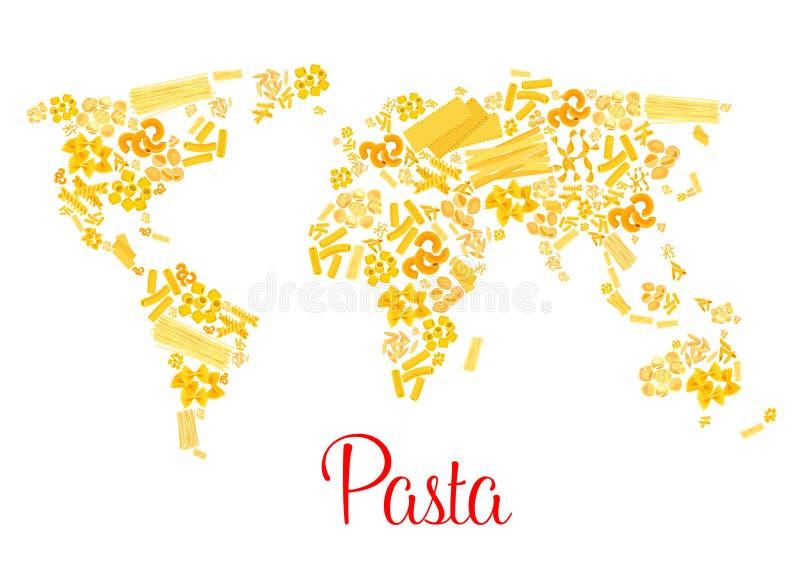 面团或意大利通心面传染媒介世界地图 向量例证