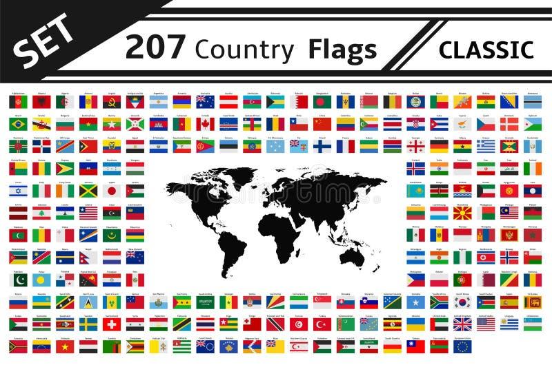 207面国旗和世界地图 库存例证