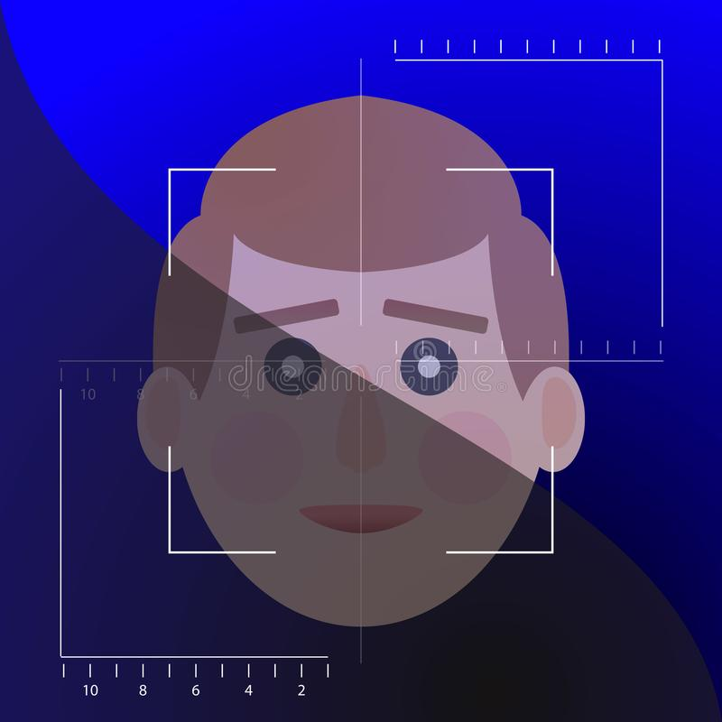 面孔侦查biometrical证明 皇族释放例证
