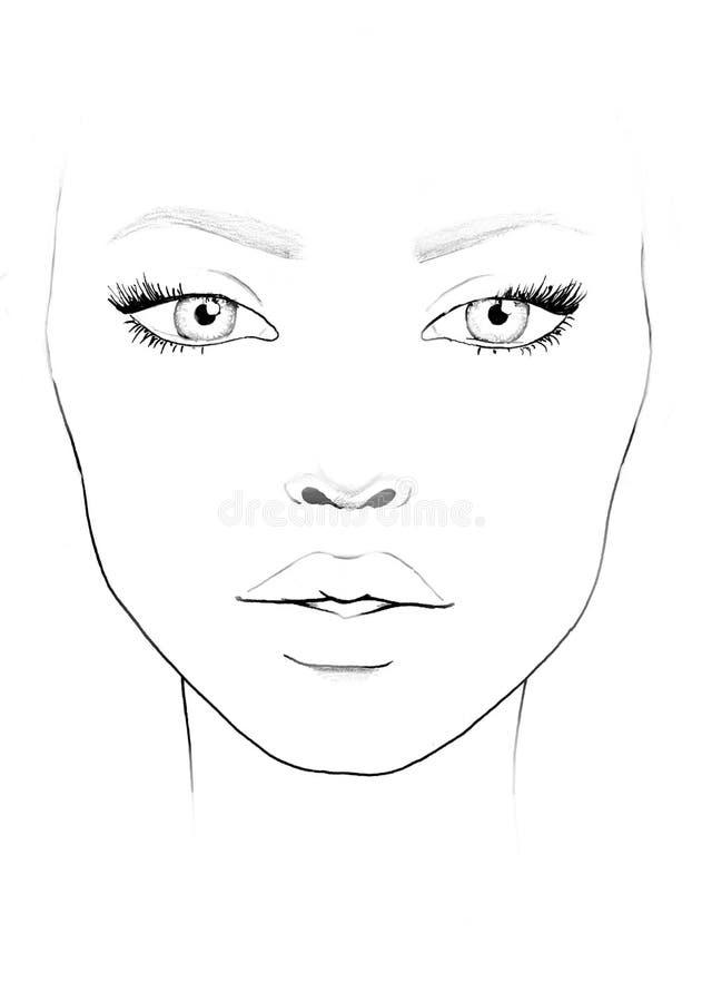 面孔图化妆师空白 美丽的纵向妇女 面孔图 化妆师空白 模板 向量例证