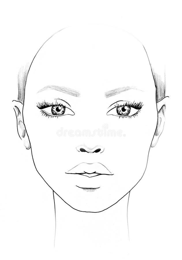 面孔图化妆师空白 美丽的纵向妇女 面孔图 化妆师空白 模板 库存例证
