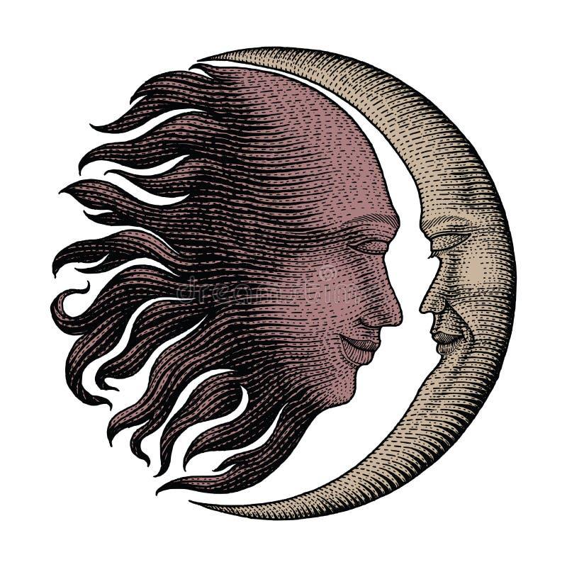 面孔在太阳和月亮手上图画葡萄酒板刻金钱排行d 向量例证