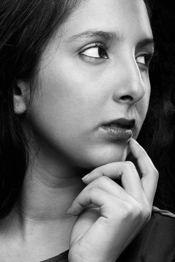 面孔少妇的边 免版税图库摄影