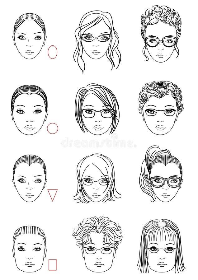 面孔形状的类型 向量例证