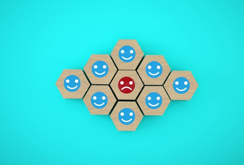 面孔情感幸福和悲伤摘要,独特,认为,单独和站立与人群概念不同 Woode 免版税库存图片