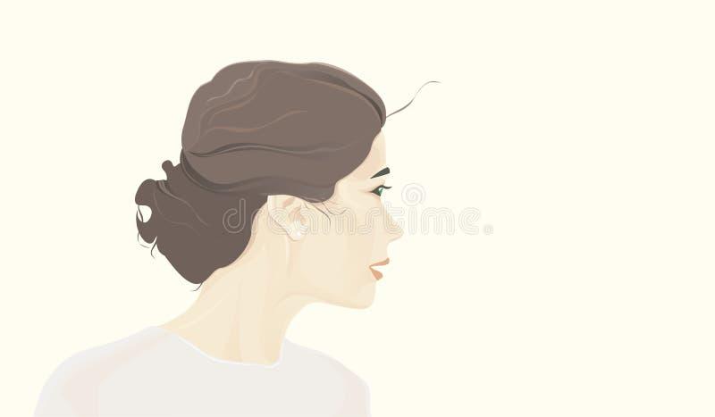 面孔深色头发的女孩 皇族释放例证