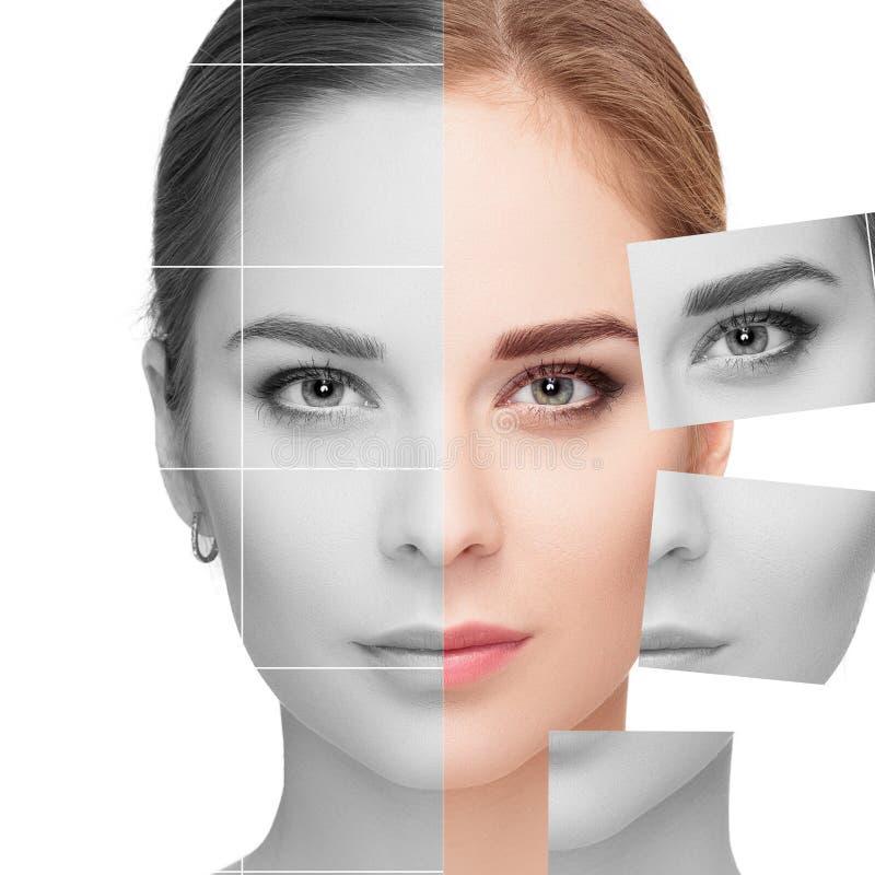 面孔由许多不同的无色和色的画象制成 概念查出的整容手术白色 免版税图库摄影