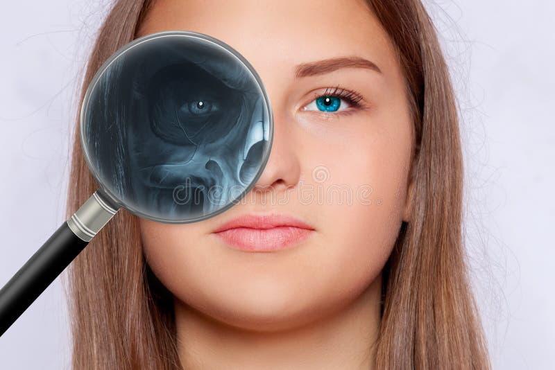 面孔的射线照相,眼科学 库存照片