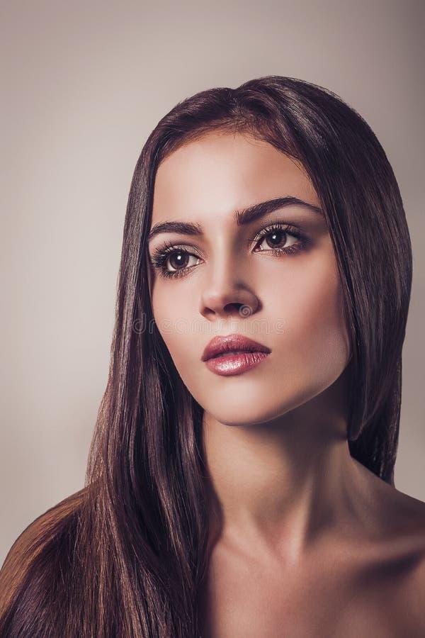 面孔长的头发的美好的年轻深色的妇女魅力画象关闭 库存照片