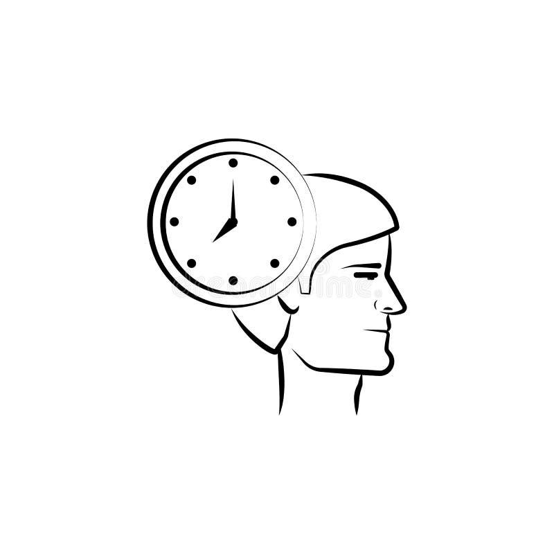 面孔,头,时间手拉的象 概述从企业集合的标志设计 向量例证