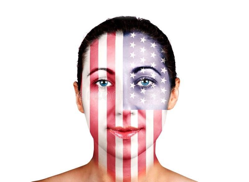 面孔,美国旗子 库存照片
