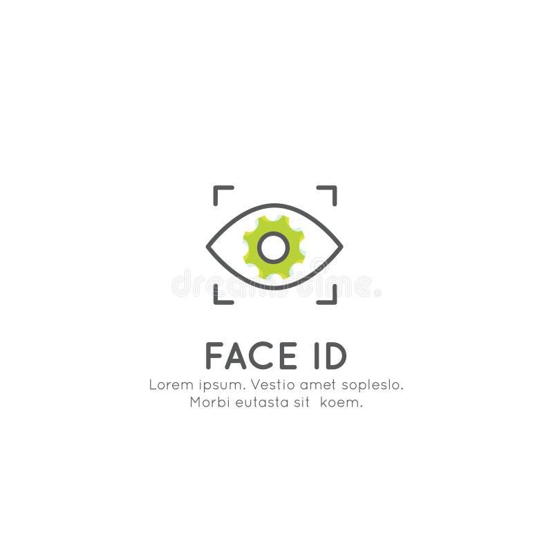 面孔ID,注册,公认,打开设备 向量例证