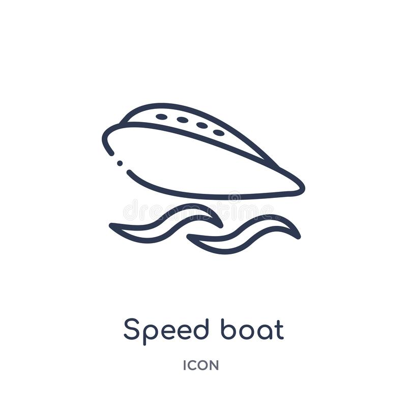 面对从船舶概述收藏的速度小船正确的象 稀薄的面对正确的象的生产线速度小船隔绝在白色背景 向量例证