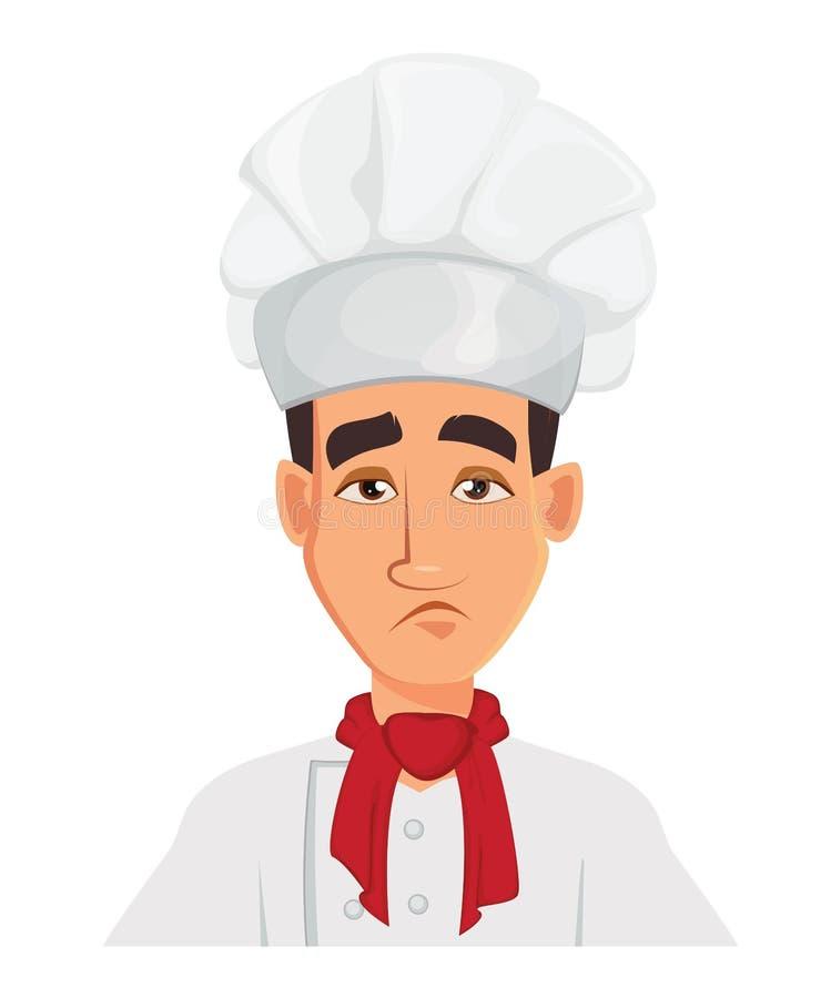 """面对厨师哀伤人的â€表示""""疲乏 皇族释放例证"""