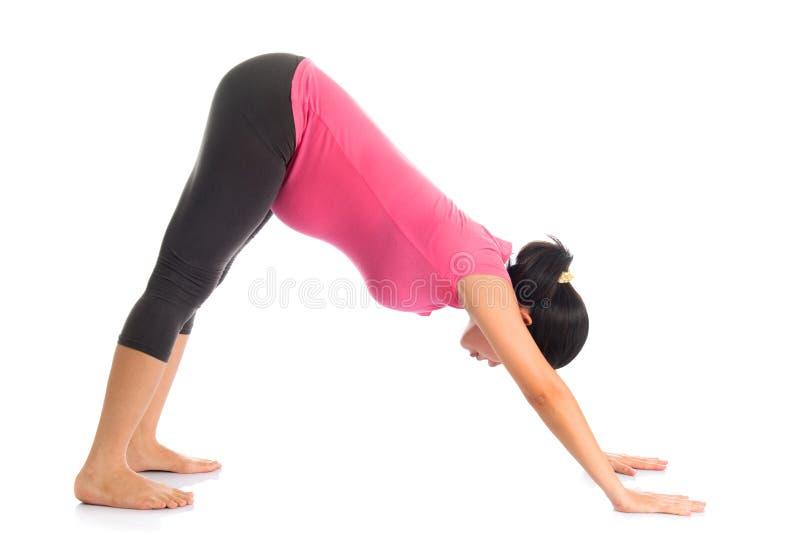 面对向下狗位置的亚洲人怀孕的瑜伽。 免版税库存图片
