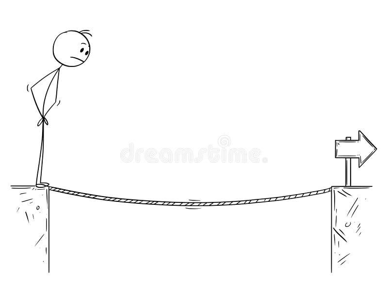 面对在峡谷的商人动画片绳索挑战 库存例证