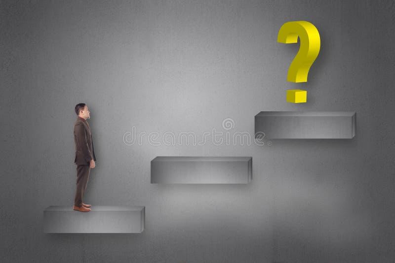 面对在梯子上面的商人问号  向量例证