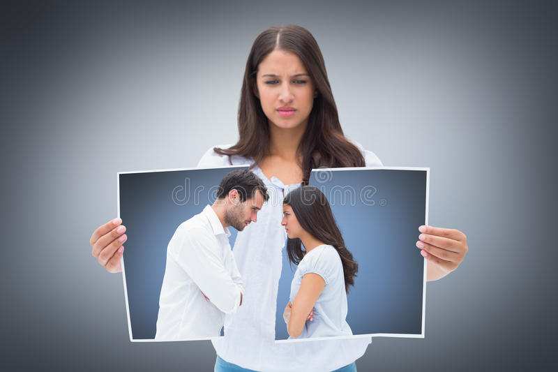 面对在论据以后的恼怒的夫妇的综合图象 免版税库存图片