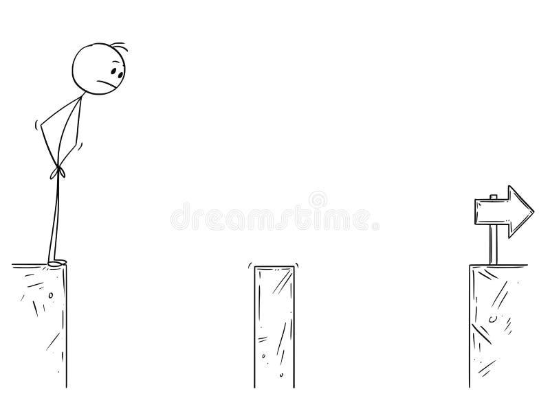 面对峡谷挑战的商人动画片 库存例证
