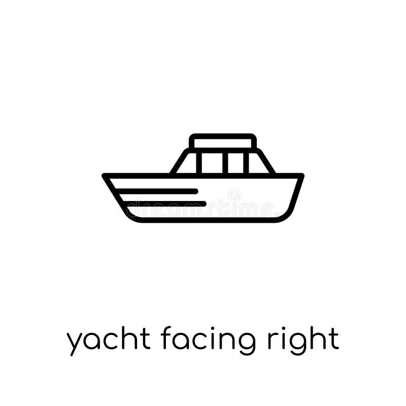 面对正确的象的游艇 时髦现代平的线性传染媒介游艇 向量例证