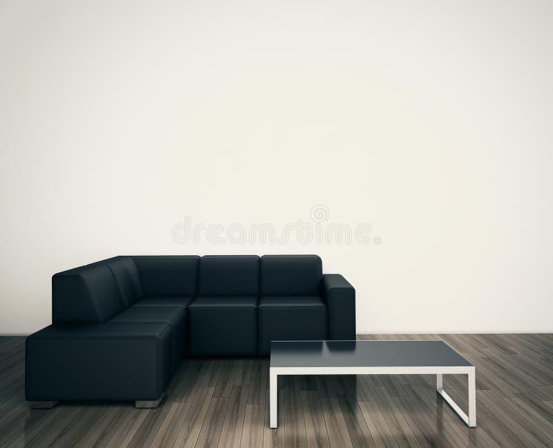 面对死墙的最小的现代内部椅子 向量例证