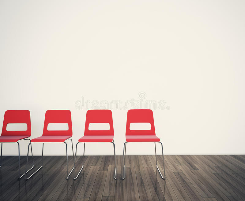 面对死墙的椅子 库存例证
