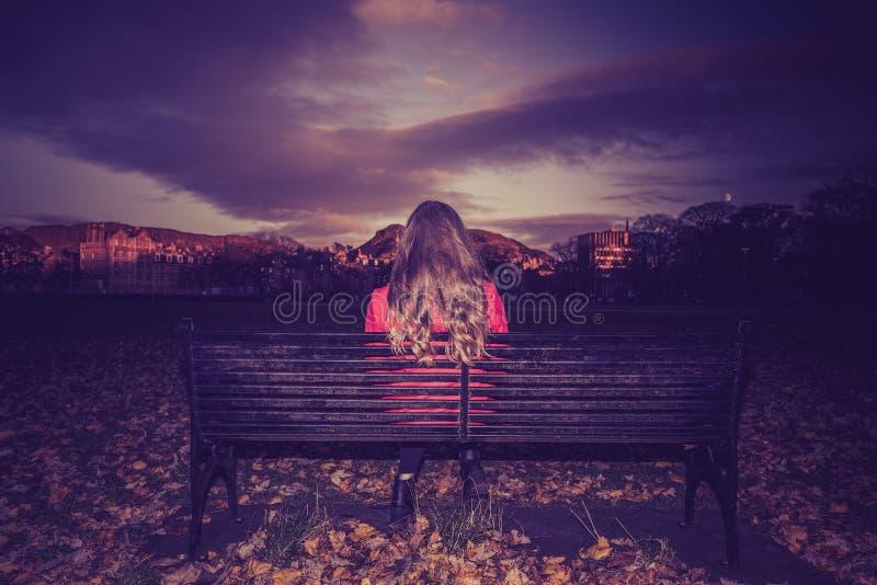 面对的年轻女人安装在长凳 免版税图库摄影