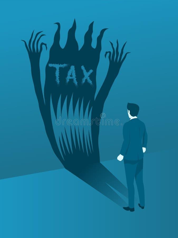面对税罪恶的商人 库存例证