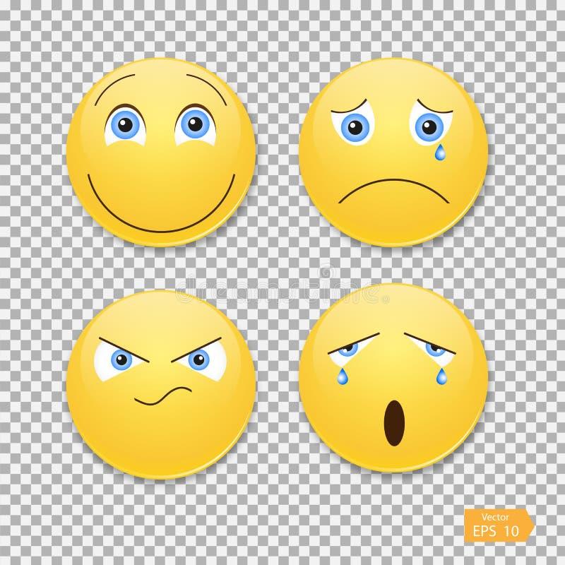 面带笑容集合 滑稽的情感,传染媒介,例证 向量例证