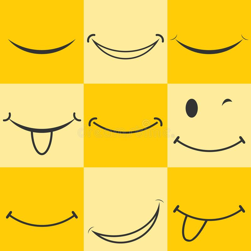 面带笑容,兴高采烈的象 生气蓬勃的微笑 在黄色背景的兴高采烈的商标 向量例证