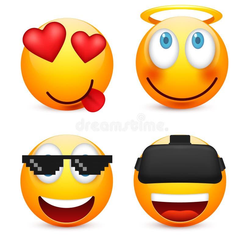 面带笑容,意思号集合 黄色面孔激动,心情 表情,现实emoji 哀伤,愉快,恼怒的面孔 滑稽 库存例证