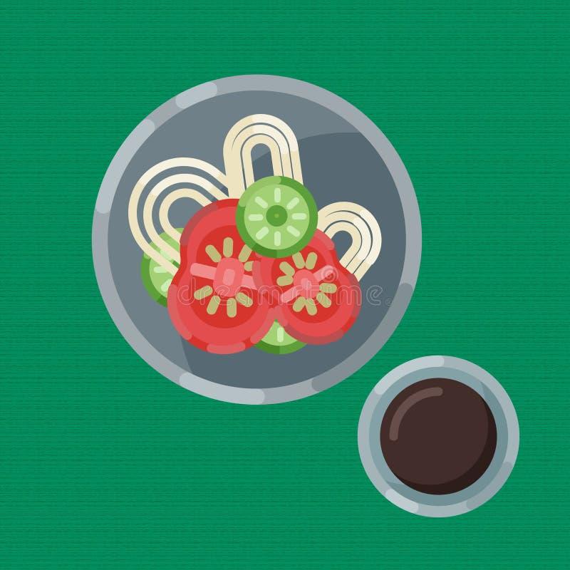 面条和新鲜蔬菜,咖啡一顿热诚的早餐  也corel凹道例证向量 吃在板材是一张顶视图 库存例证