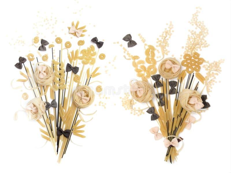 面条和面团,以花束的形式 使用了几种类面团,细面条,谷物 包装的设计 免版税图库摄影