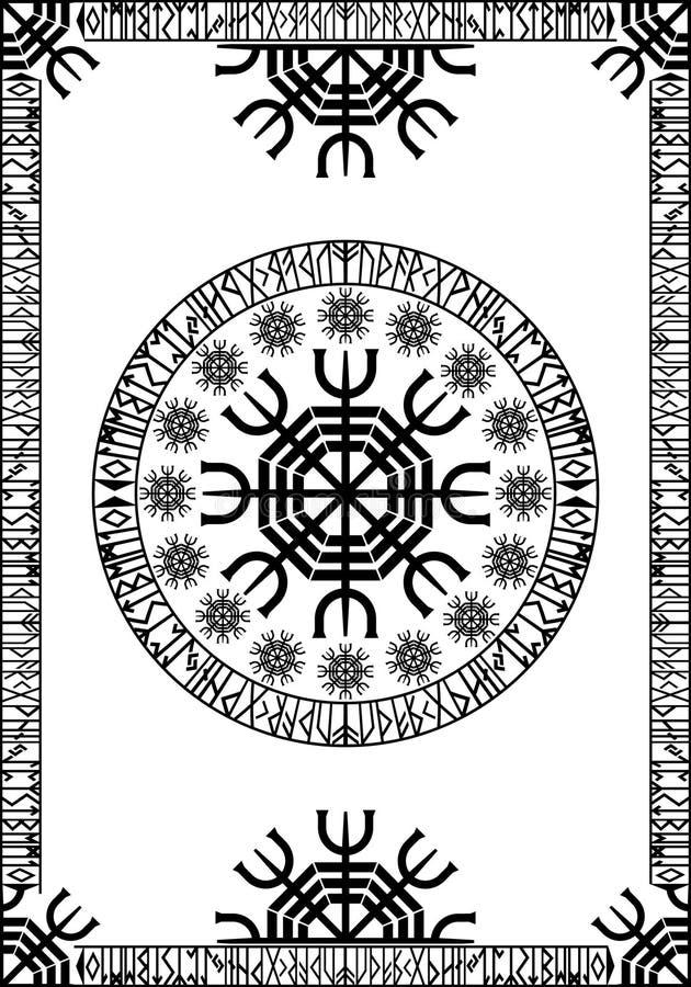 面板古代北欧文字的北欧海盗 向量例证