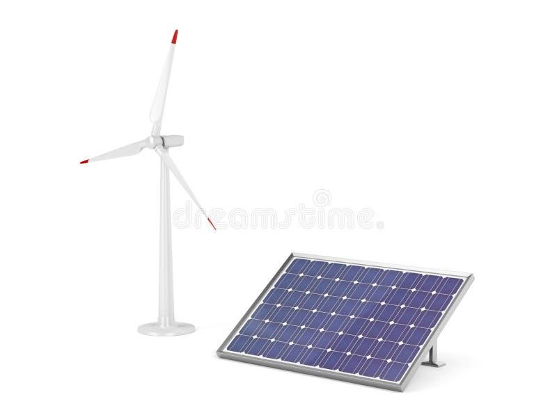 面板太阳涡轮风 向量例证
