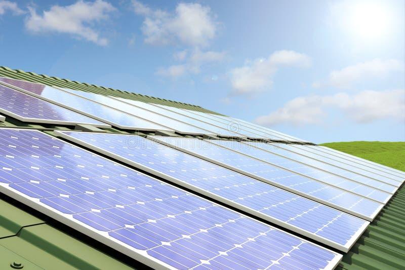面板顶房顶太阳 向量例证
